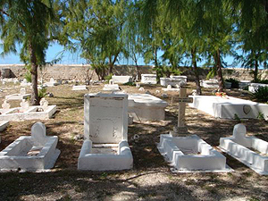 Oceanside graveyard behind St John's Church on Salt Cay  - photo by Jim & Sharon Shaffer