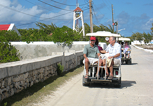 Traveling back in time heading toward the Salt Cay St Johns Anglican Church - photo by Robin Savory