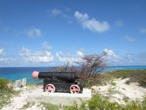 Cannon atop Mt Pleasant on Salt Cay Turks & Caicos Islands