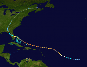 Track of Hurricane Frances 2004. 100+mph winds